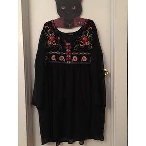 Asos Curve Embroidered Black Dress